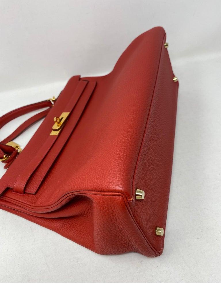Hermes Kelly Vermilion Red 35 Bag For Sale 9