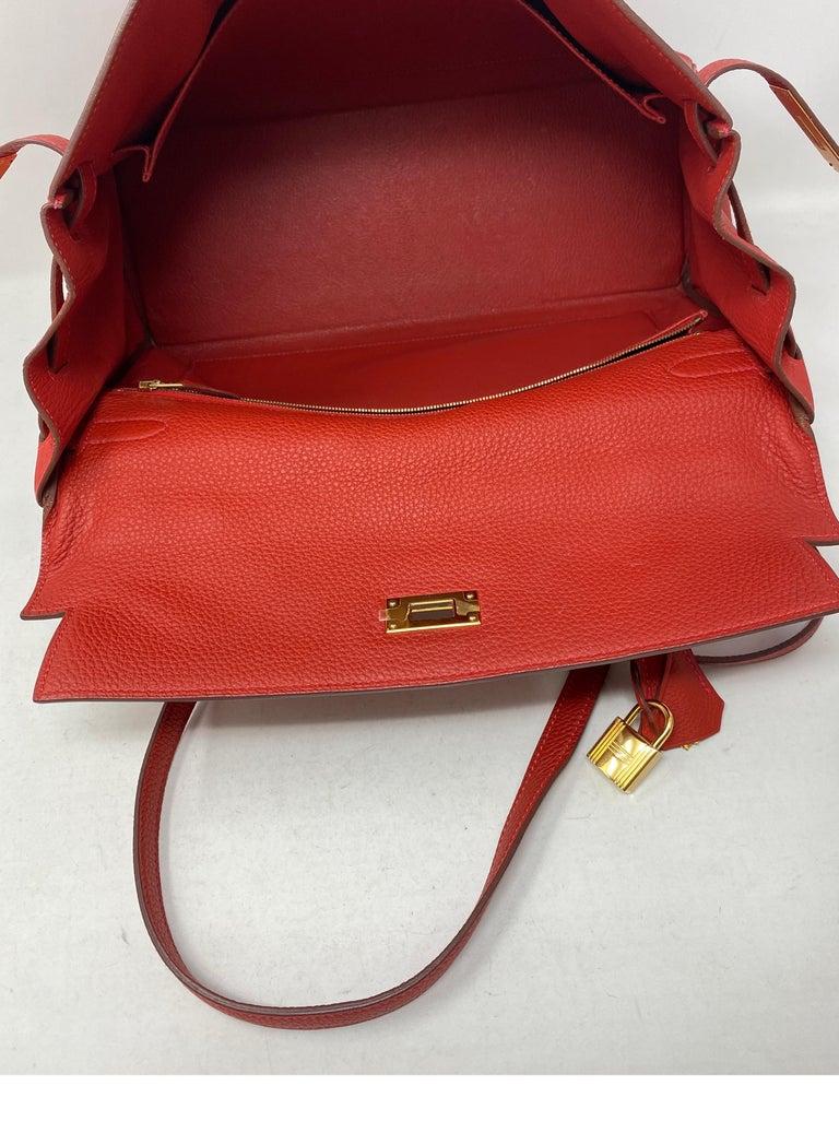 Hermes Kelly Vermilion Red 35 Bag For Sale 11