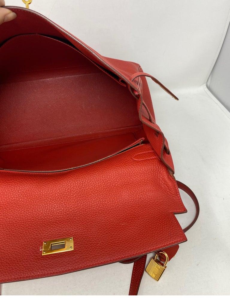Hermes Kelly Vermilion Red 35 Bag For Sale 12