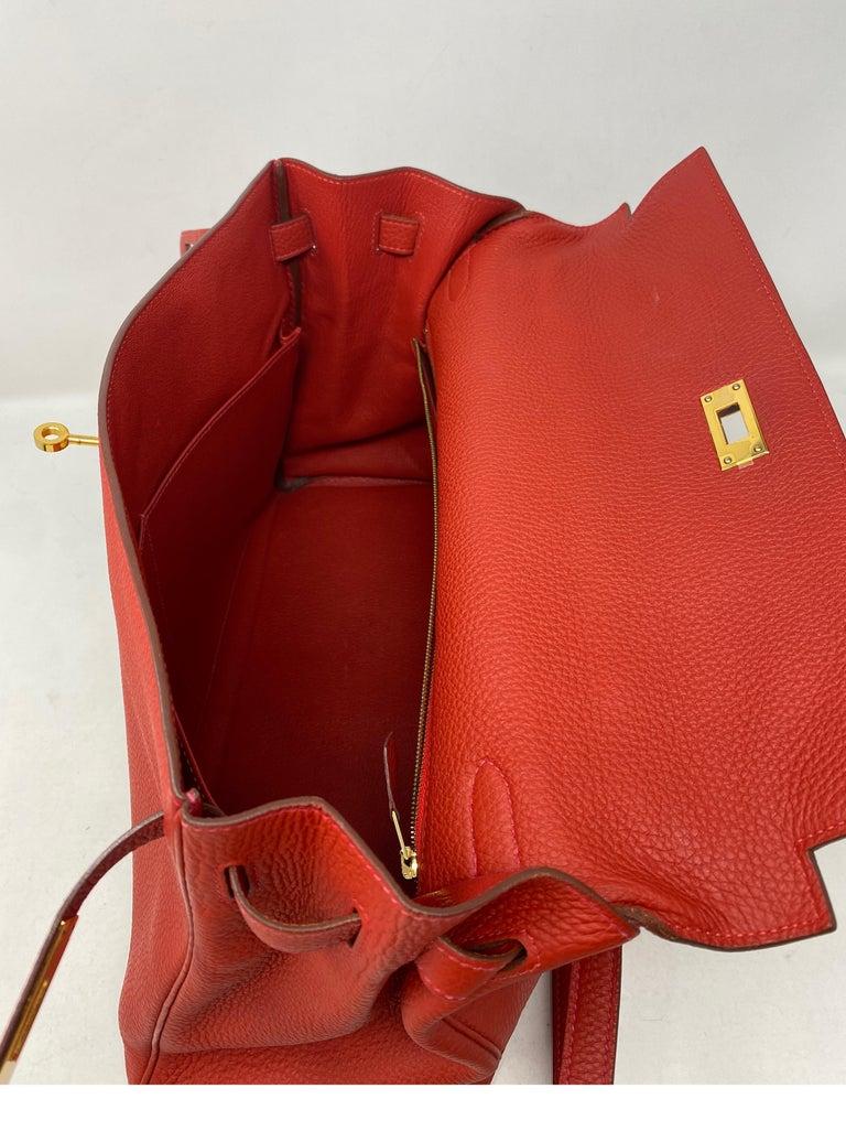 Hermes Kelly Vermilion Red 35 Bag For Sale 13