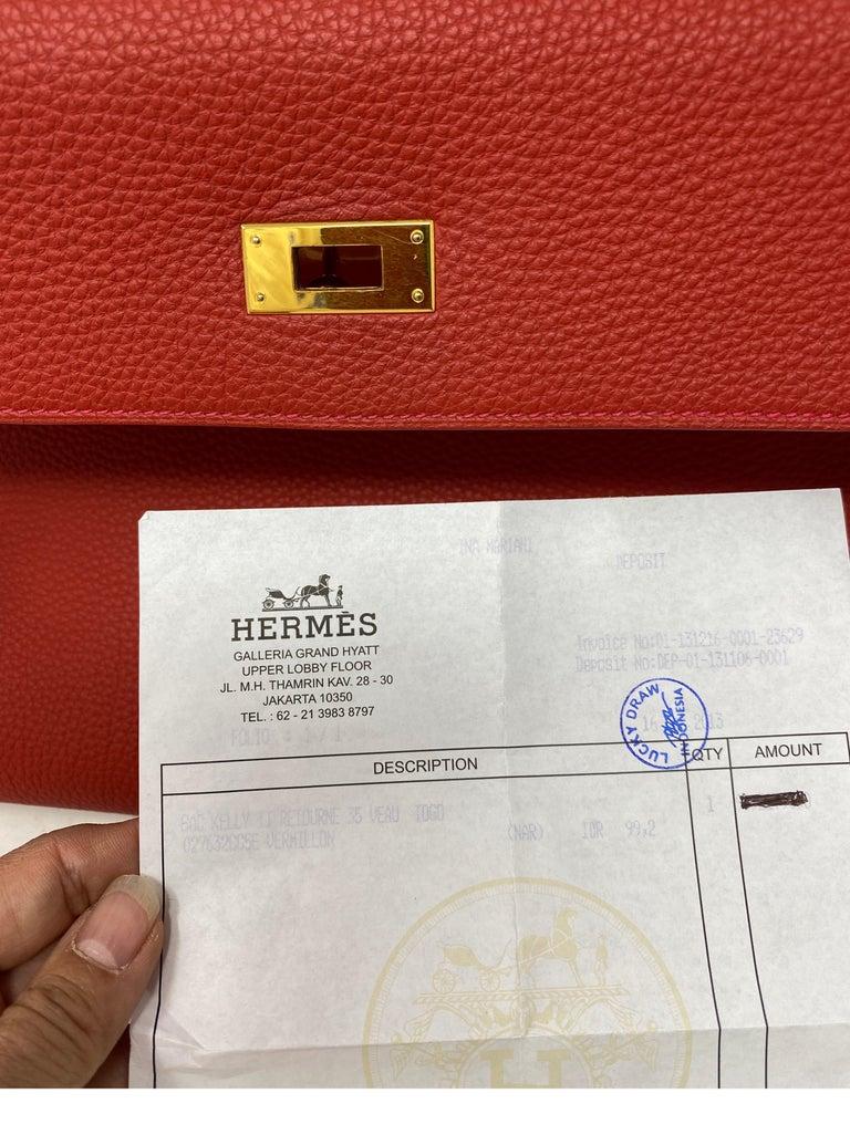 Hermes Kelly Vermilion Red 35 Bag For Sale 14