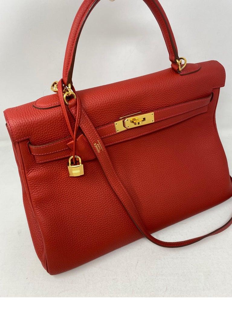 Hermes Kelly Vermilion Red 35 Bag For Sale 2