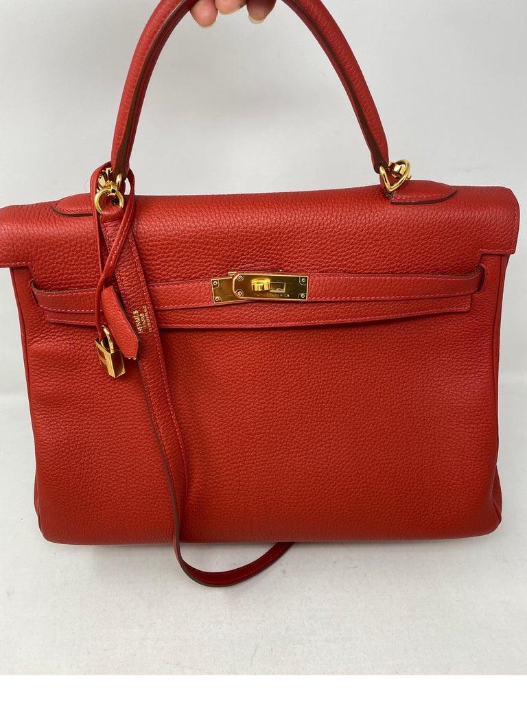 Hermes Kelly Vermilion Red 35 Bag For Sale 4
