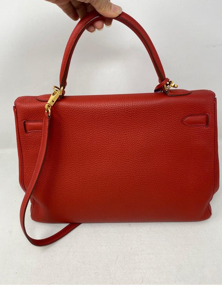 Hermes Kelly Vermilion Red 35 Bag For Sale 5