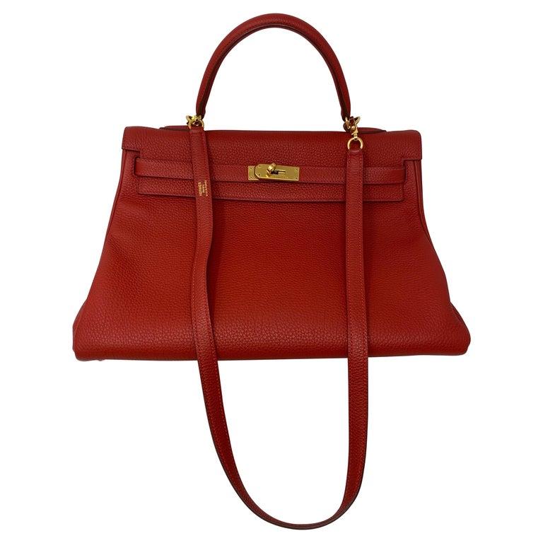 Hermes Kelly Vermilion Red 35 Bag For Sale