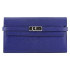 Hermes Kelly Wallet Epsom Long, crafted in Bleu Electrique