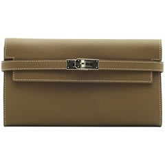 Hermès Kelly Wallet Etoupe Epsom Leather Palladium Hardware