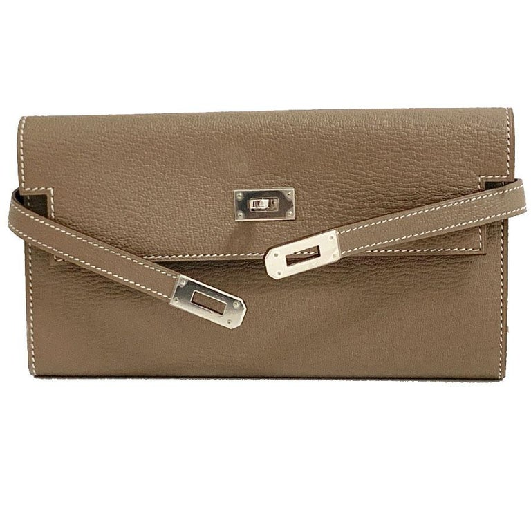 Brown HERMES Kelly Wallet For Sale