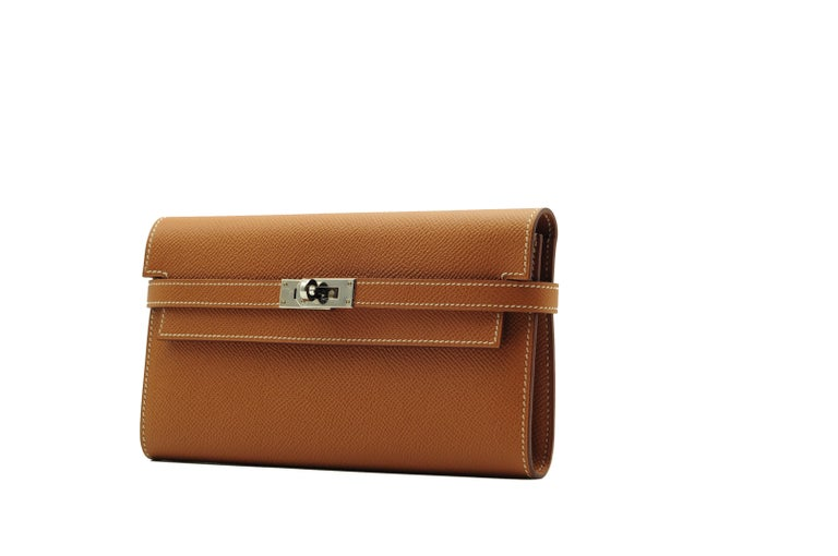 Brown Hermès Kelly Wallet Gold Epsom Leather Palladium Hardware For Sale