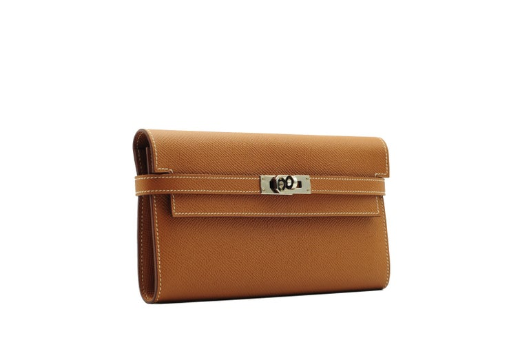 Hermès Kelly Wallet Gold Epsom Leather Palladium Hardware In New Condition For Sale In Jakarta, IN