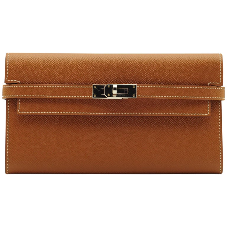 Hermès Kelly Wallet Gold Epsom Leather Palladium Hardware For Sale