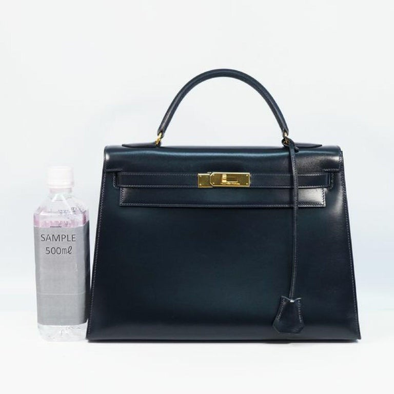 HERMES Kelly32 Womens handbag Navy x gold hardware For Sale 5