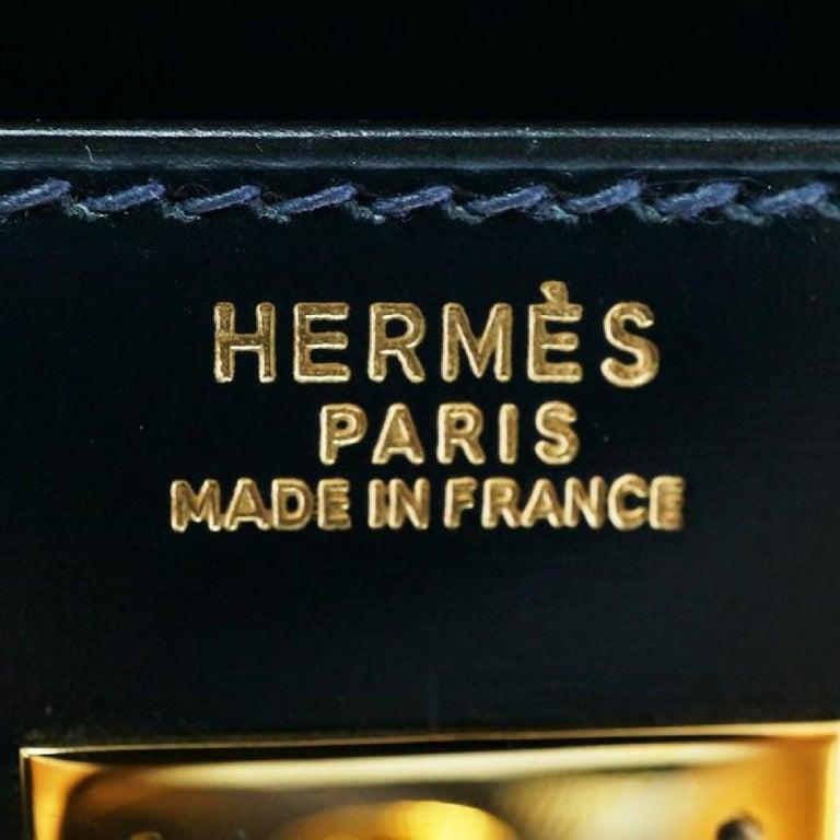 HERMES Kelly32 Womens handbag Navy x gold hardware For Sale 6