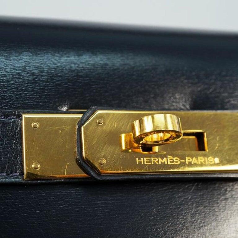 HERMES Kelly32 Womens handbag Navy x gold hardware For Sale 9