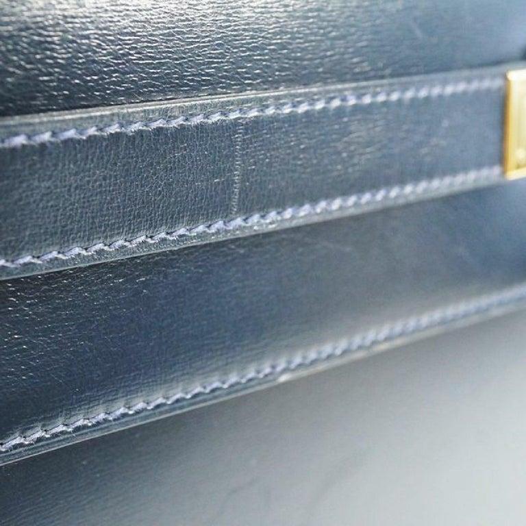 HERMES Kelly32 Womens handbag Navy x gold hardware For Sale 11
