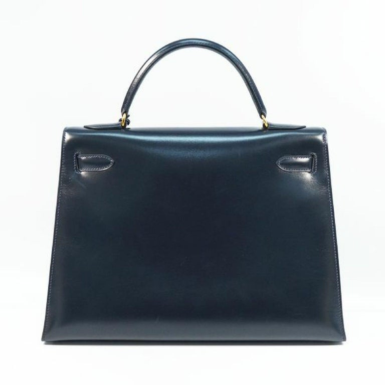 Black HERMES Kelly32 Womens handbag Navy x gold hardware For Sale