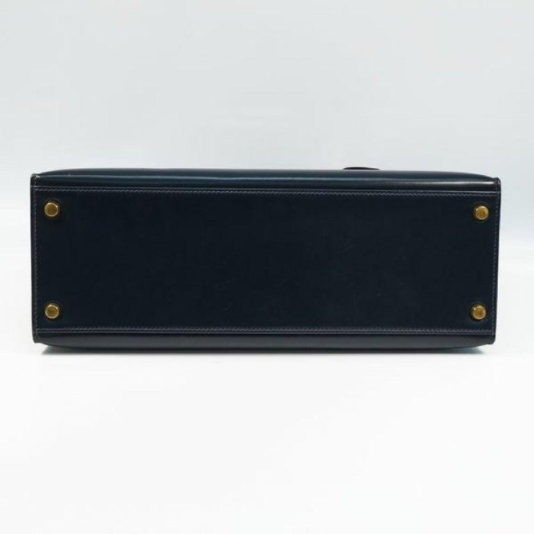 HERMES Kelly32 Womens handbag Navy x gold hardware In Good Condition For Sale In Takamatsu-shi, JP