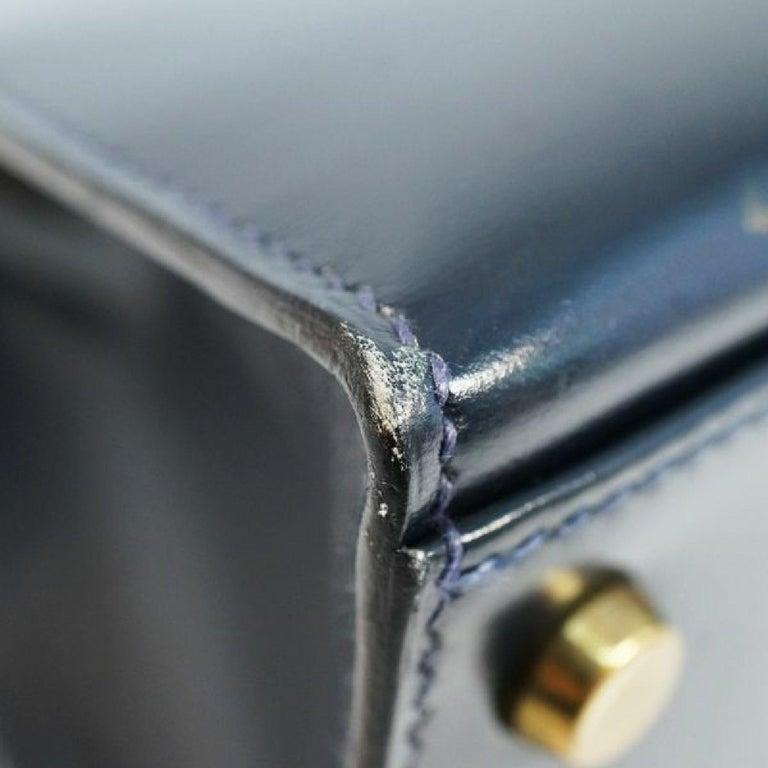 Women's HERMES Kelly32 Womens handbag Navy x gold hardware For Sale