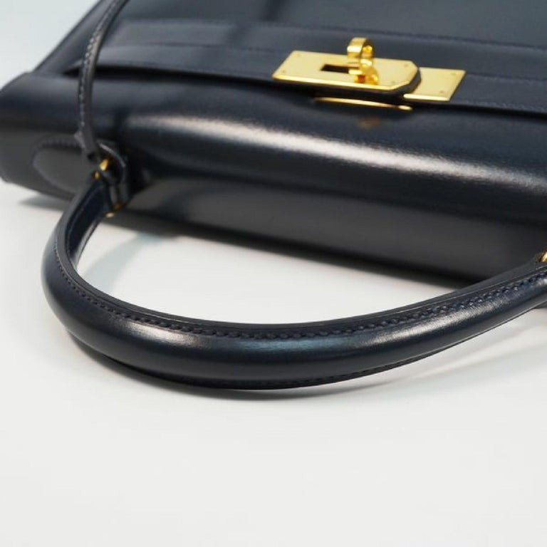 HERMES Kelly32 Womens handbag Navy x gold hardware For Sale 2