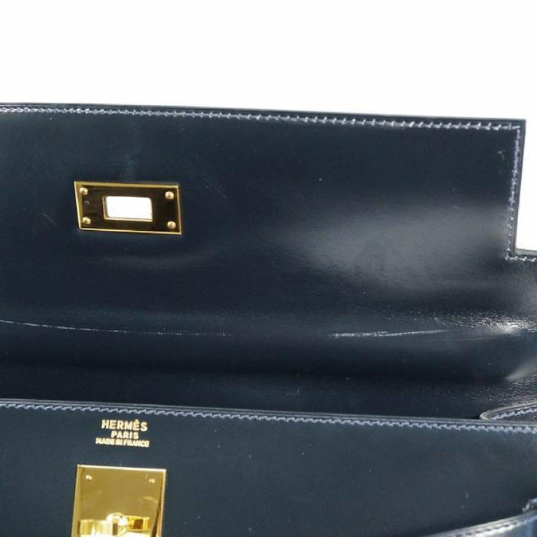 HERMES Kelly32 Womens handbag Navy x gold hardware For Sale 3