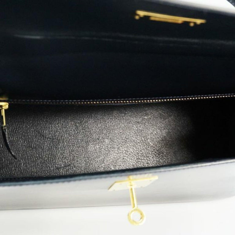 HERMES Kelly32 Womens handbag Navy x gold hardware For Sale 4