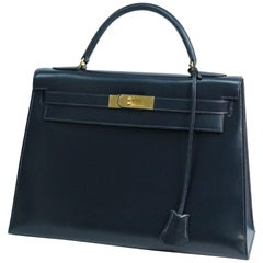HERMES Kelly32 Womens handbag Navy x gold hardware