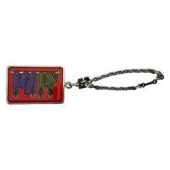 Hermès Key Ring Key Holder Les Sangles Horse Straps Enamel and Silver in Box