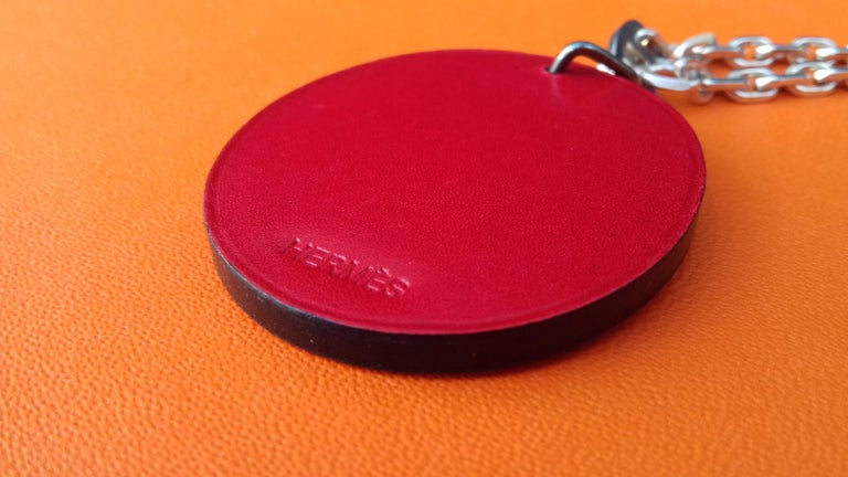 Hermès Keychain Key Holder Ladybug Charm Leather and Silver for Kelly Birkin Bag In Excellent Condition In ., FR
