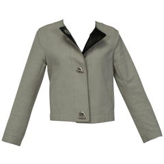 Hermès Khaki Canvas Cardigan Toggle Jacket with Brown Calfskin Placket- M, 1990s