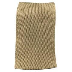 HERMES Khaki Woven Silk Tie