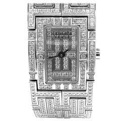 Hermes Kilim Full Diamond H White Gold Bracelet Ladies Wristwatch