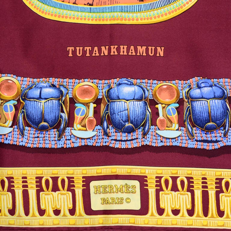 Brown Hermes King Tut Tutankhamun Burgundy Silk Scarf by Vladimir Rybaltchenko in 1976 For Sale