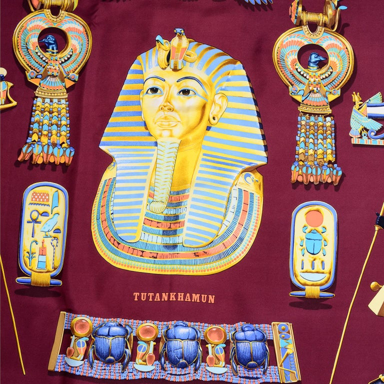 Hermes King Tut Tutankhamun Burgundy Silk Scarf by Vladimir Rybaltchenko in 1976 In Good Condition For Sale In Portland, OR