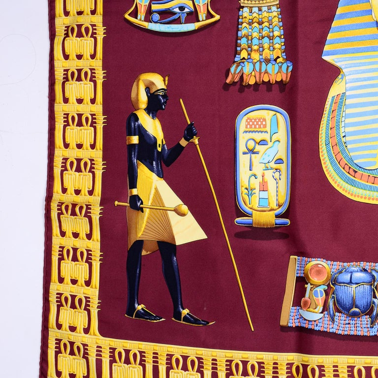 Hermes King Tut Tutankhamun Burgundy Silk Scarf by Vladimir Rybaltchenko in 1976 For Sale 2