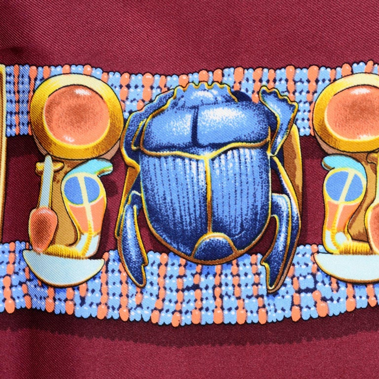 Hermes King Tut Tutankhamun Burgundy Silk Scarf by Vladimir Rybaltchenko in 1976 For Sale 3