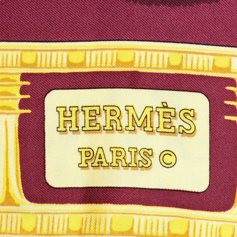 Hermes King Tut Tutankhamun Burgundy Silk Scarf by Vladimir Rybaltchenko in 1976 For Sale 4