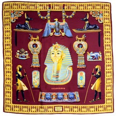 Hermes King Tut Tutankhamun Burgundy Silk Scarf by Vladimir Rybaltchenko in 1976