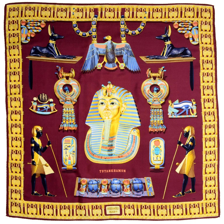 Hermes King Tut Tutankhamun Burgundy Silk Scarf by Vladimir Rybaltchenko in 1976 For Sale