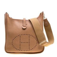 Hermes Kraft Clemence Leather Evelyne III PM Bag