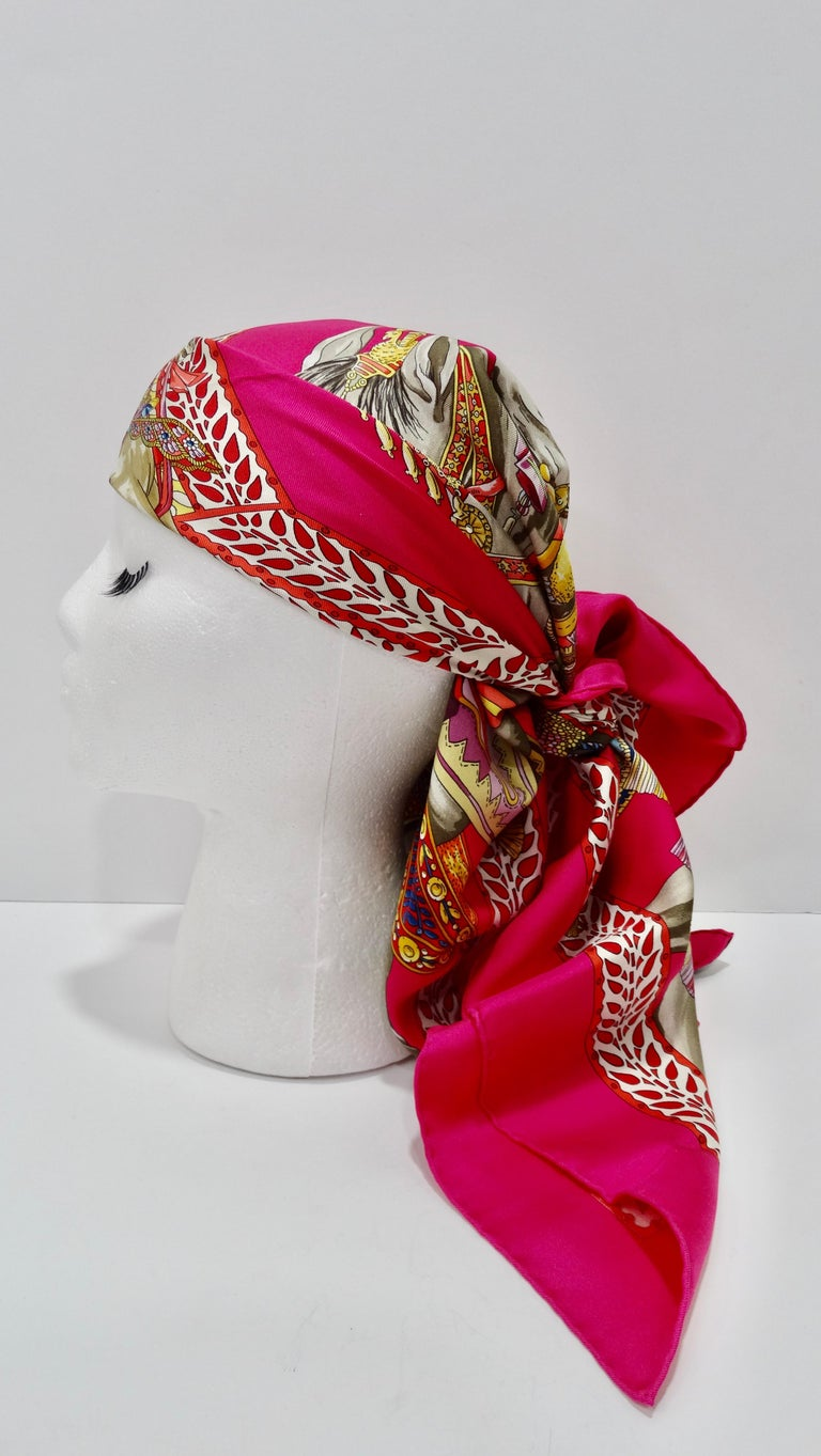 Designed by Annie Faivre in 2008, this striking pink scarf features a detailed motif titled
