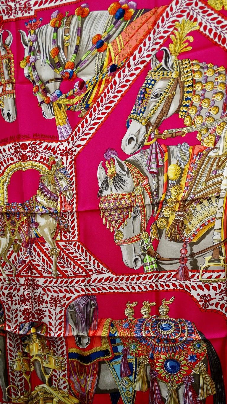 Pink Hermès 'La Danse du Cheval Marwari' Silk Scarf