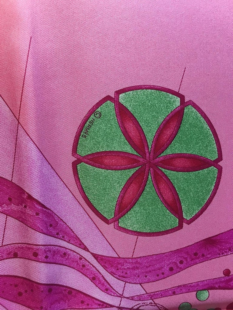 Hermes La Danse du Cosmos Silk Scarf in Pink In Excellent Condition For Sale In Philadelphia, PA
