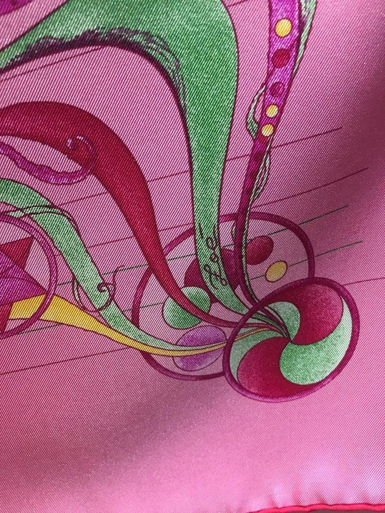 Women's or Men's Hermes La Danse du Cosmos Silk Scarf in Pink For Sale