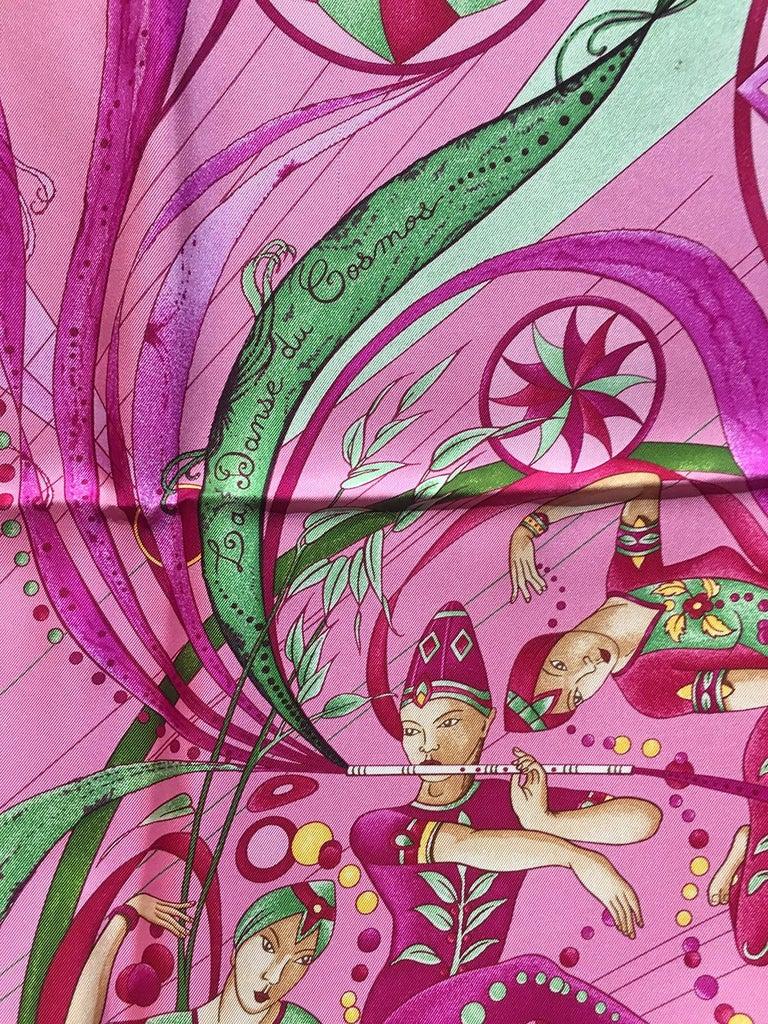 Hermes La Danse du Cosmos Silk Scarf in Pink For Sale 1