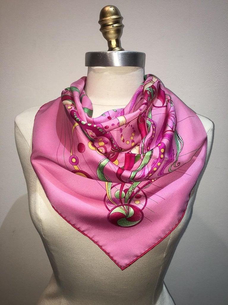 Hermes La Danse du Cosmos Silk Scarf in Pink For Sale 2