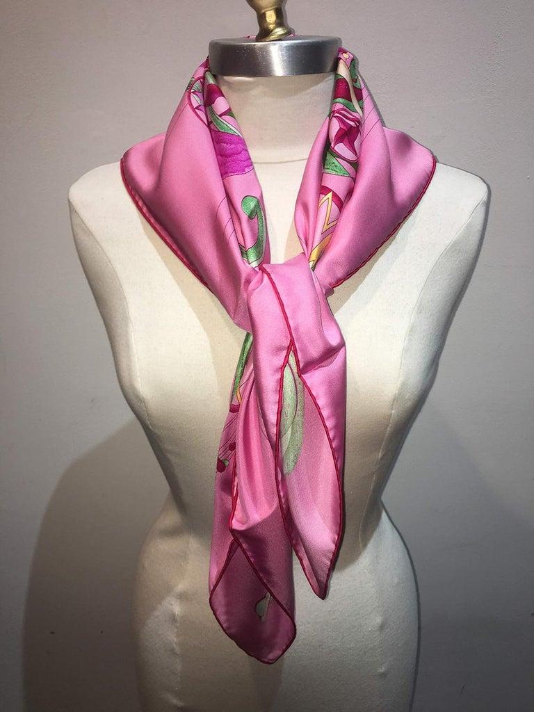 Hermes La Danse du Cosmos Silk Scarf in Pink For Sale 3