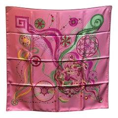 Hermes La Danse du Cosmos Silk Scarf in Pink