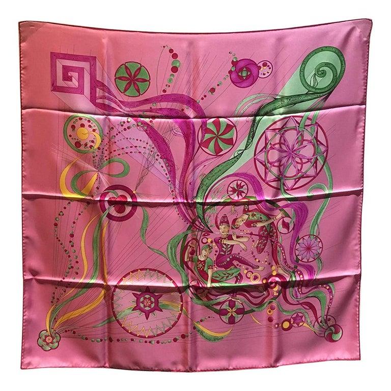 Hermes La Danse du Cosmos Silk Scarf in Pink For Sale