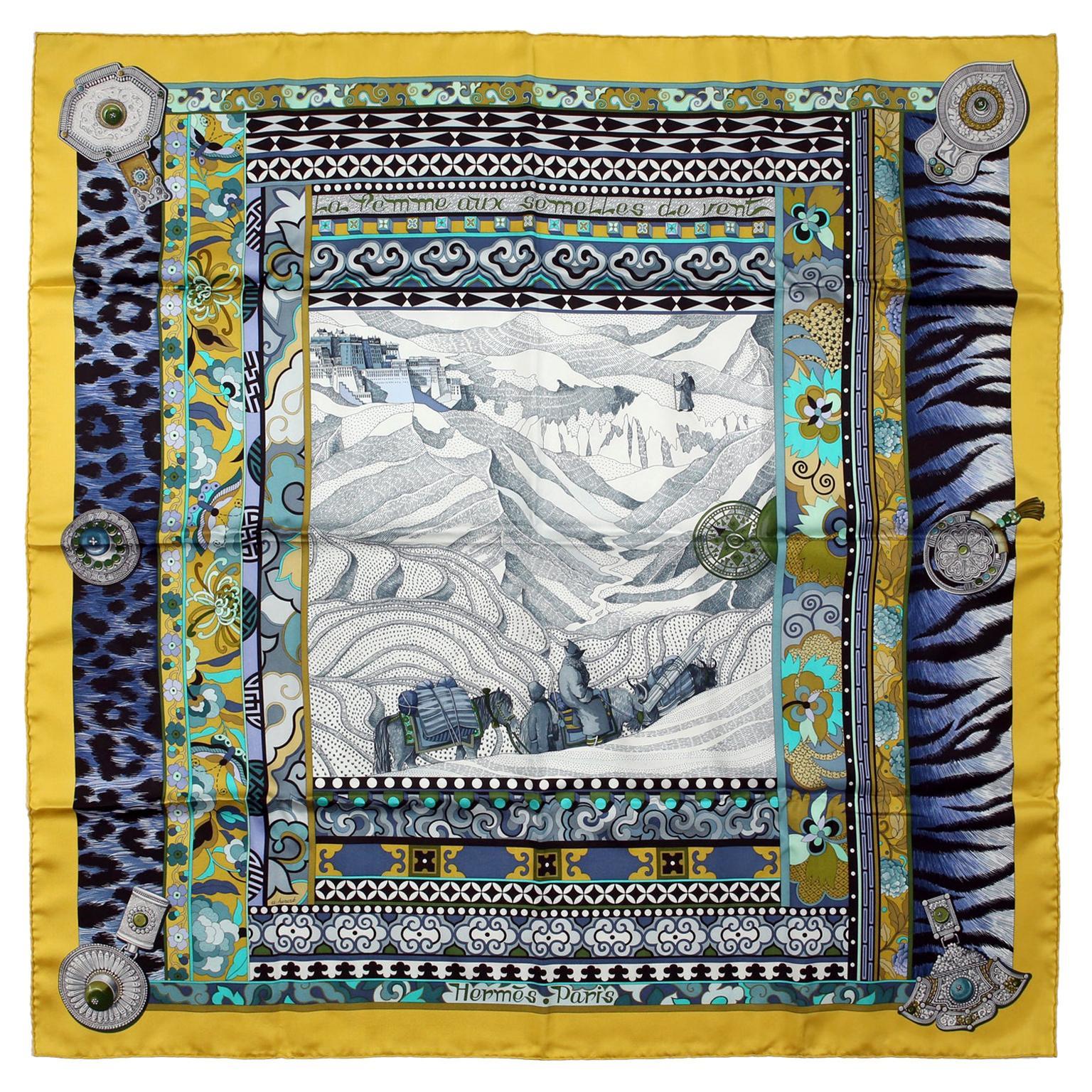 Hermès La Femme aux Semelles de Vent 90 cm Silk Scarf