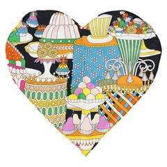 HERMES La Patisserie Francaise heart Womens scarf multi color
